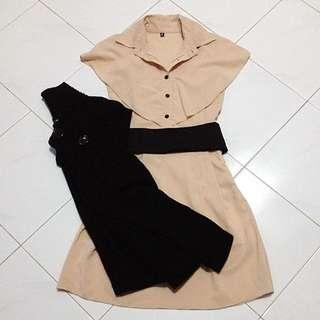 😜European Chiffon Cape Dress