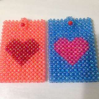 Heart Shape Beaded Card Case
