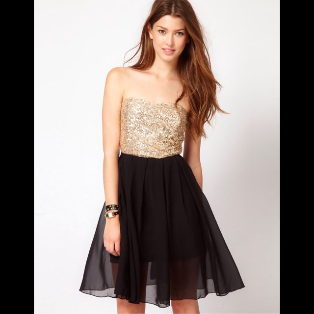 7501017be79 REDUCED! ASOS Club L Sequin Bandeau Dress With Chiffon Skirt