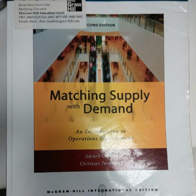Matching Supply And Demand Cachon And Terwiesch 2nd Edition Books