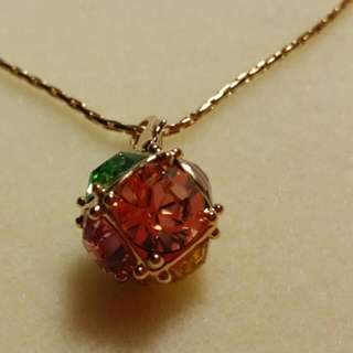 BN Multi Colour Gold Crystal Ball Pendant with chain