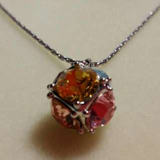BN Multi Colour Silver Crystal Ball Pendant with chain