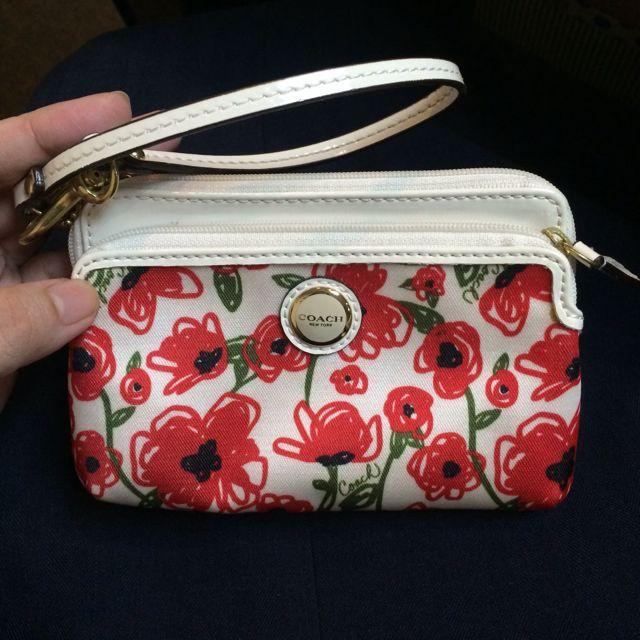[R] Preloved AUTHENTIC Coach Poppy Flower Print Wristlet