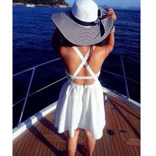 BNIB Cross Back Summer Beach Dress In White