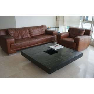 HTL Brown Leather Sofa For Sale
