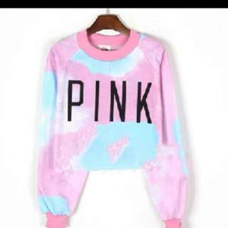 PINK Ombre Crop Pullover