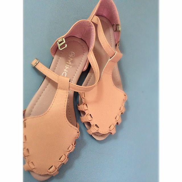 Peach Flat Sandals