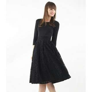 Intoxiquette Cinderella Lace Midi Dress In Black