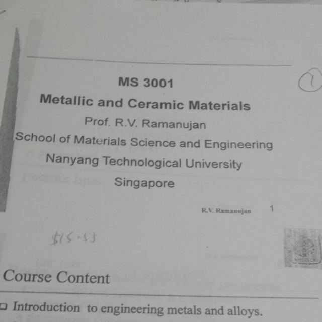 NTU MSE Year 3 Notes