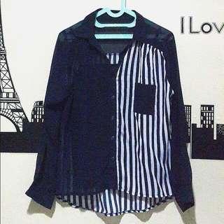 Blue Navy Stripe Chifon