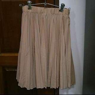 Chiffon Pleated Skirt In Nude