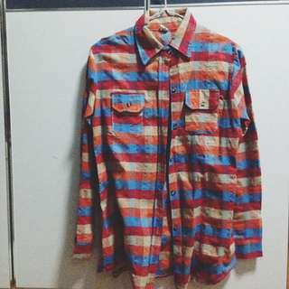 Colourful Plaid Button On Collared Shirt