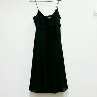 Arthur Yen Black Pleated Maxi / Midi Prom Dinner Dress