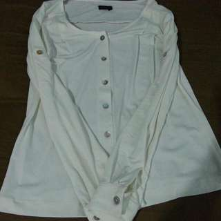 White Adjustable Sleeve Top