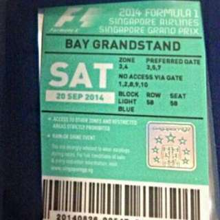 F1 night Race Tickets (1 Pair) - Bay Grandstand Inclusive of Zone 3 & 4