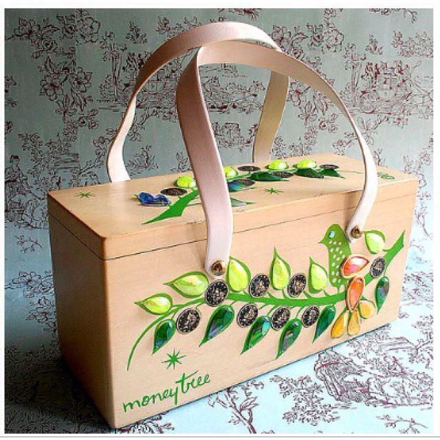 306981793e Vintage Enid Collins Box Bag MONEY TREE