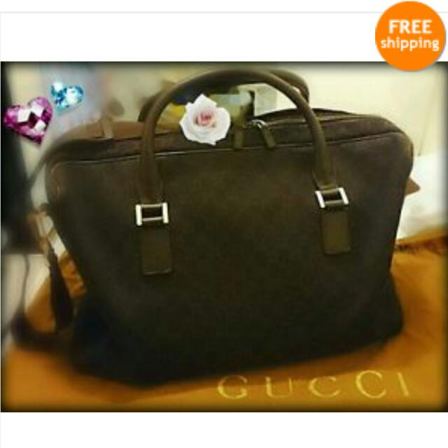 b2eac573cbe2 NEW) Authentic GUCCI Dark Brown GG Carry On Duffle Bag (Runway ...