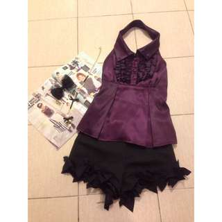 Purple Satin Ruffle Top