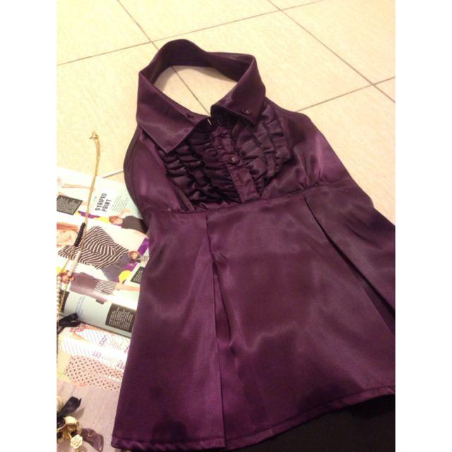 Purple Satin Ruffle Top
