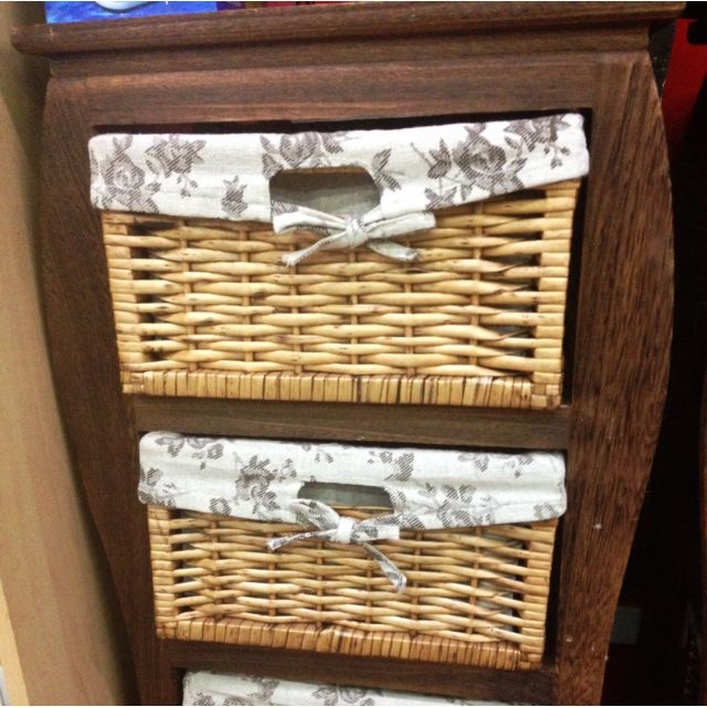 Vintage Feel Lingerie & Sock Fabric Lined Drawer -2 Sets Of 3 Drawers Each