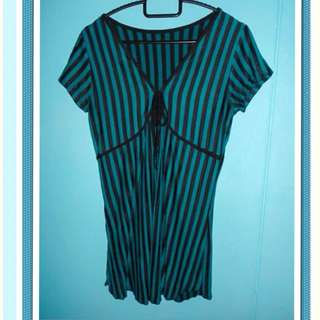 Lovely Green and Black Striped Top