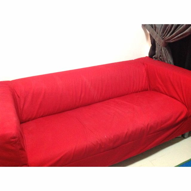 Ikea Klippan Sofa With Red Cover