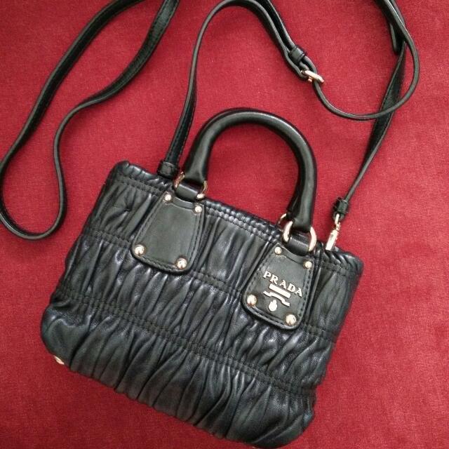 491bf91d58ed Final Sale!Prada Nappa Gaufre Black Mini Crossbody Bag, Luxury on ...