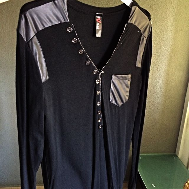 V-neck Long Sleeves (black & PVC Edging), Men's Fashion on