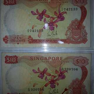 Old $10 Orchid Series Note.