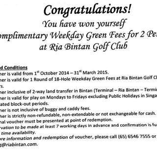 Golf voucher at Ria Bintan