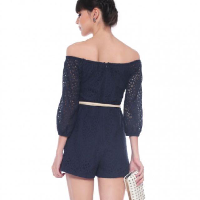 264ccf56a095 Love Bonito LB Clora Lace Romper - Navy Blue