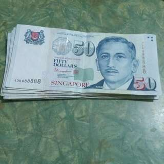 *Not Available* 50 Dollar Note With Lucky Auspicious 88888 Number!