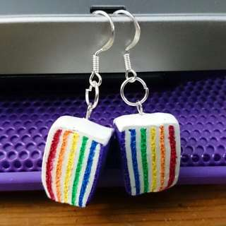 Handmade Rainbow Cake Dangling Earrings