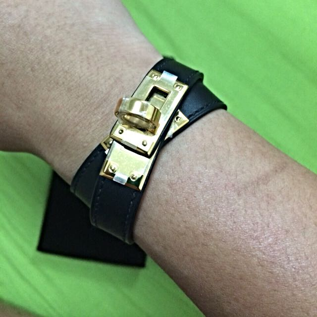 Hermes Kelly Double Tour Bracelets With GHW