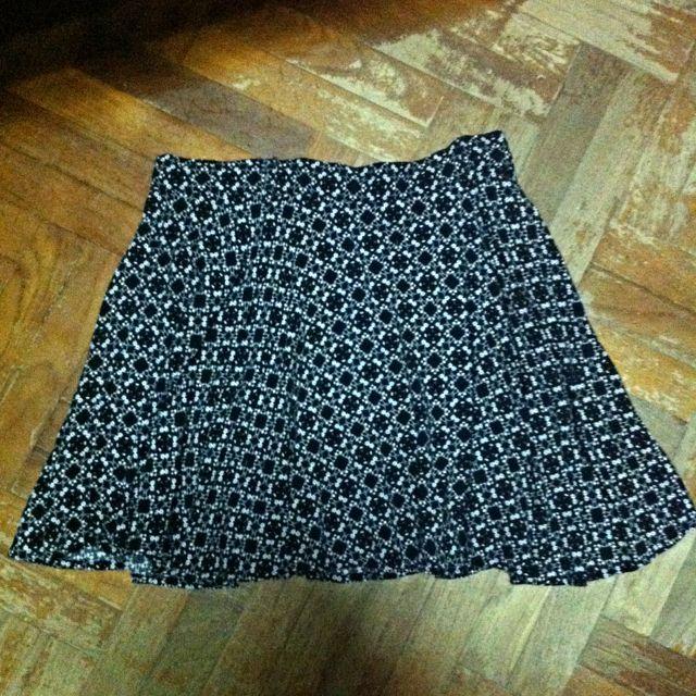 35bccaba9 Factorie Black & White Floral Print Skater Skirt, Women's Fashion on ...