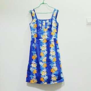 Sleeveless Blue Floral Casual Sundress