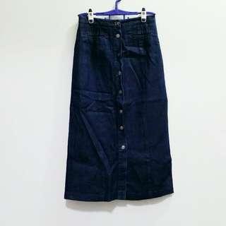 Dark Wash Buttons Denim Midi Skirt
