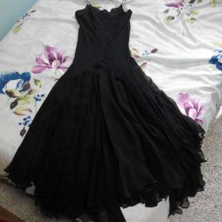 Calvin Klein Authentic Designer Black Evening Silk Chiffon Dress US Size 2 Brand New With Tag RP$699