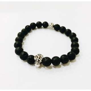 Skull Lava Stone Bracelet