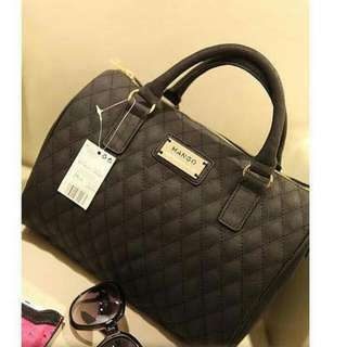 Mango Plaid PU Leather Handbag