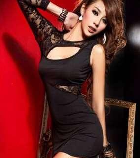 BN Asymmetrical Black Lace Dress.