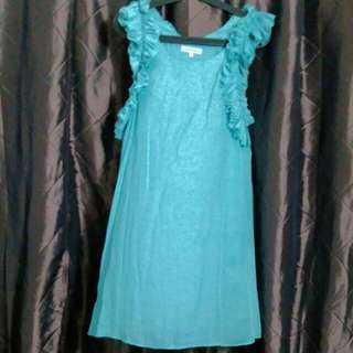 Southhaven turquoise frilly dress/tunic