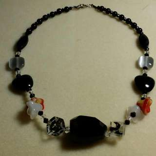 Fanciful Black Stone Necklace with Floral