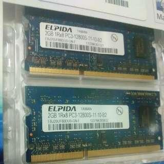 4GB RAM (2 x 2GB) Elpida PC3-12800S-11-10-B2