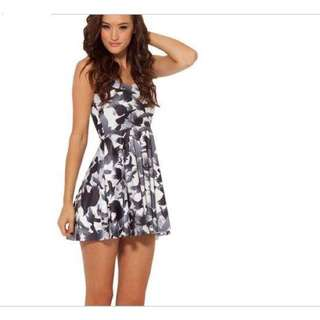 Grey Print Skater Dress