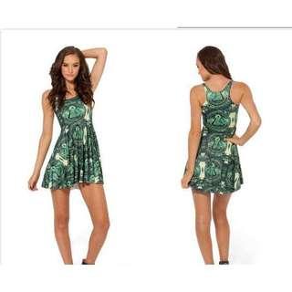 Green Print Skater Dress