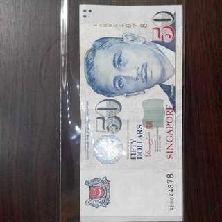 Singapore Portrait $50 W Ink Error.