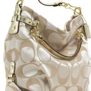 Preloved Coach Handbag Gold & Khaki