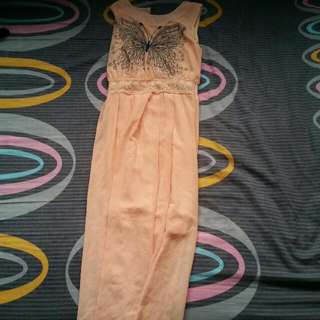 Peach Chiffon Maxi Dress