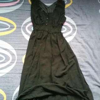 Black Chiffon Semi Maxi Dress